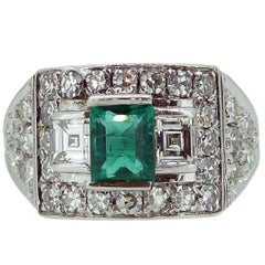 0.65 Carat Emerald and Diamond Ring, Geometric Cluster, French
