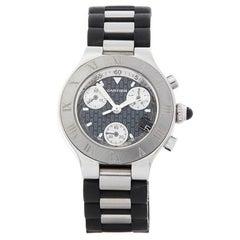 Cartier Must De 21 Chronograph Stainless Steel Women's