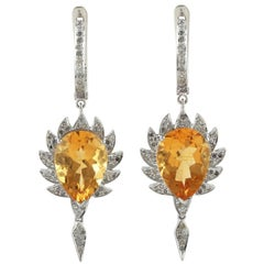 Meghna Jewels Claw Single Drop Earrings Citrine and Diamonds
