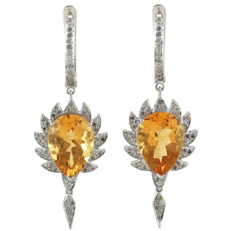 Claw Single Drop Earrings Citrine and Diamonds