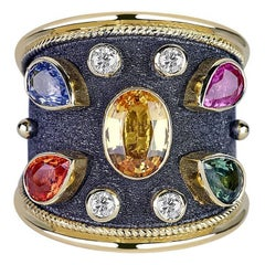 Georgios Collections 18 Karat Yellow Gold Ring with Diamonds and Multi Sapphires