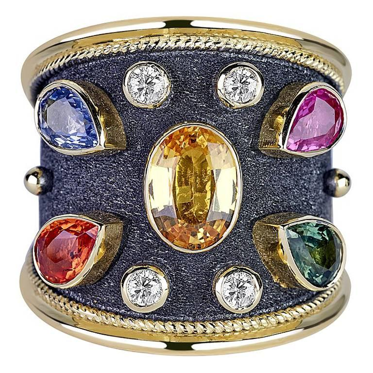 S.Georgios 18 Karat Yellow and Black Gold Ring with Diamonds and Sapphires