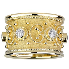 Georgios Collections 18 Karat Yellow Gold Byzantine Style Ring with Diamonds