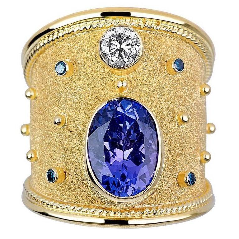 S.Georgios 18 Karat Yellow Gold Byzantine Ring with Tanzanite and Blue Diamonds