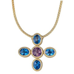 Georgios Collections 18 Karat Gold Cross with Blue Topaz Amethyst and Diamonds