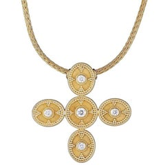 Georgios Collections 18 Karat Gold Blue Topaz Amethyst Diamond Reversible Cross