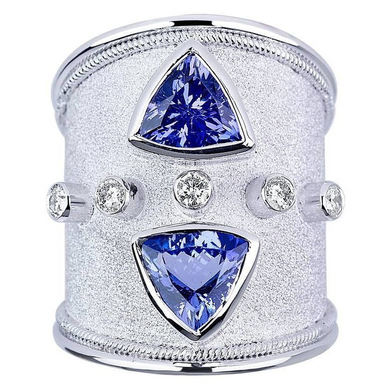 Georgios Collections 18 Karat White Gold Ring with Tanzanites and Diamonds