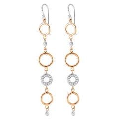 Yellow White Gold Diamond Circle Hoop Drop Earrings