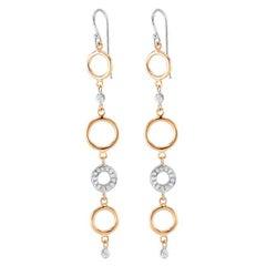 Yellow White Gold Diamond Circle Hoop Drop Earrings