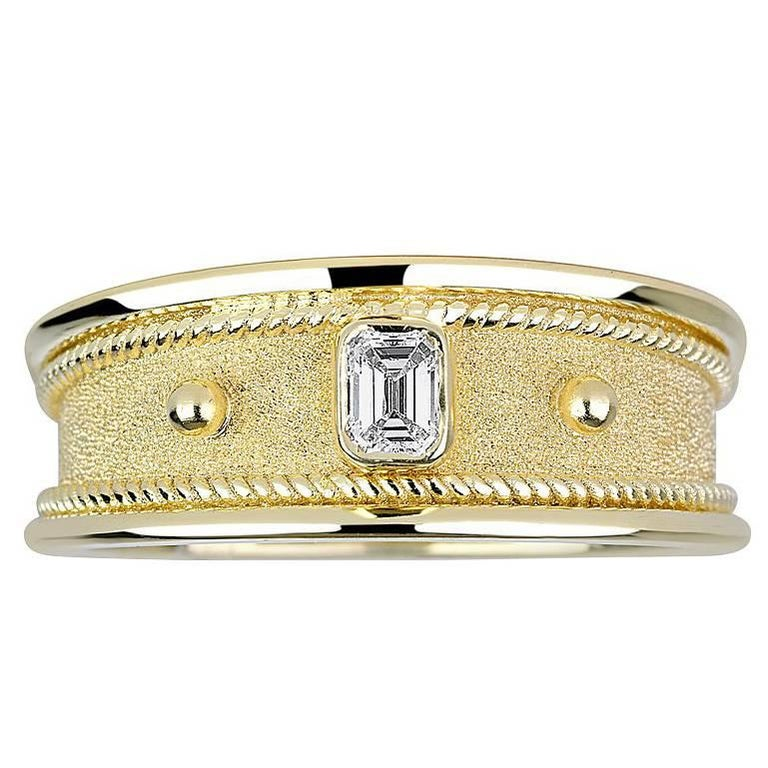 Georgios Collections 18 Karat Yellow Gold Mens Ring with Emerald Cut Diamond