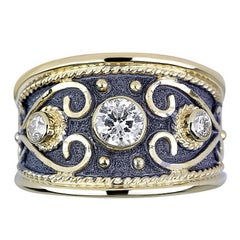 Georgios Collections 18 Karat Gold Byzantine Ring with 0.40 Carat Centre Diamond