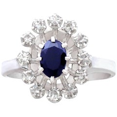 1970s French Sapphire and Diamond White Gold Cluster Ring