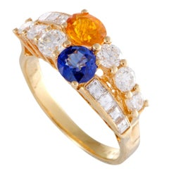 Boucheron Yellow and Blue Sapphire Diamond Gold Band Ring