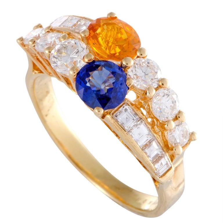 Boucheron Yellow and Blue Sapphire Diamond Gold Band Ring