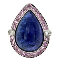 Designer Certified 28 Carat Tanzanite Pink Sapphire Diamond White Gold Ring