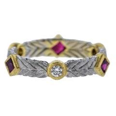 Buccellati Diamond Ruby White Gold Band Ring