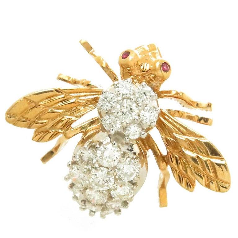 Herbert Rosenthal Large Yellow Gold Diamond Bee Brooch