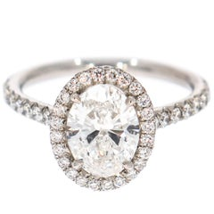 GIA Certified 1.60 Carat Oval Cut Diamond Engagement Ring