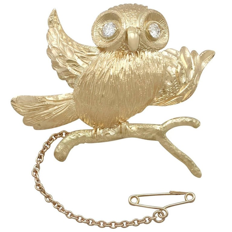1940s Diamond and Yellow Gold 'Owl' Brooch