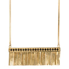 Iosselliani 18 Karat Gold Black Diamond Pavè Fringed Necklace
