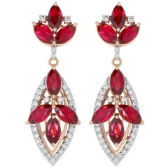 6.14 Carat Ruby and 0.52 Carat Diamond Drop Earrings