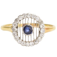 Antique Edwardian Sapphire Diamond Halo Cluster Ring