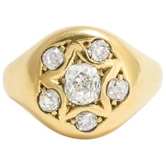 Antique Victorian Cushion Cut Diamond Gold Signet Ring