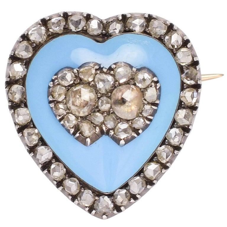 Antique Mid-Victorian Diamond Double Heart Pendant Brooch