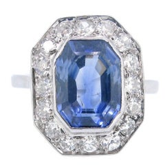 Art Deco Rectangular Ceylon Sapphire Diamond Round Cluster Platinum Ring