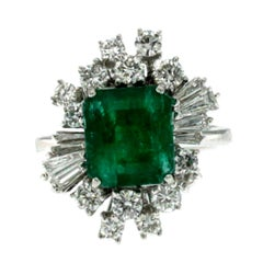 Estate 3.00 Carat Colombian Emerald Diamond Gold Ring