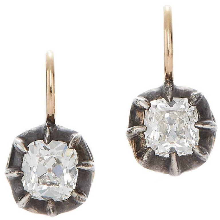 Antique Style Cushion Diamond Drop Earrings, Fred Leighton