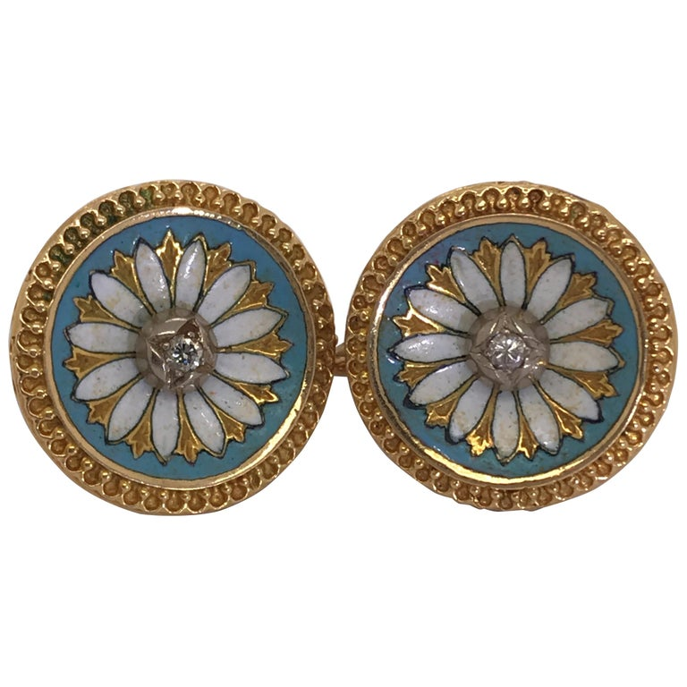14 Karat Yellow Gold and Diamond Enamel Earrings