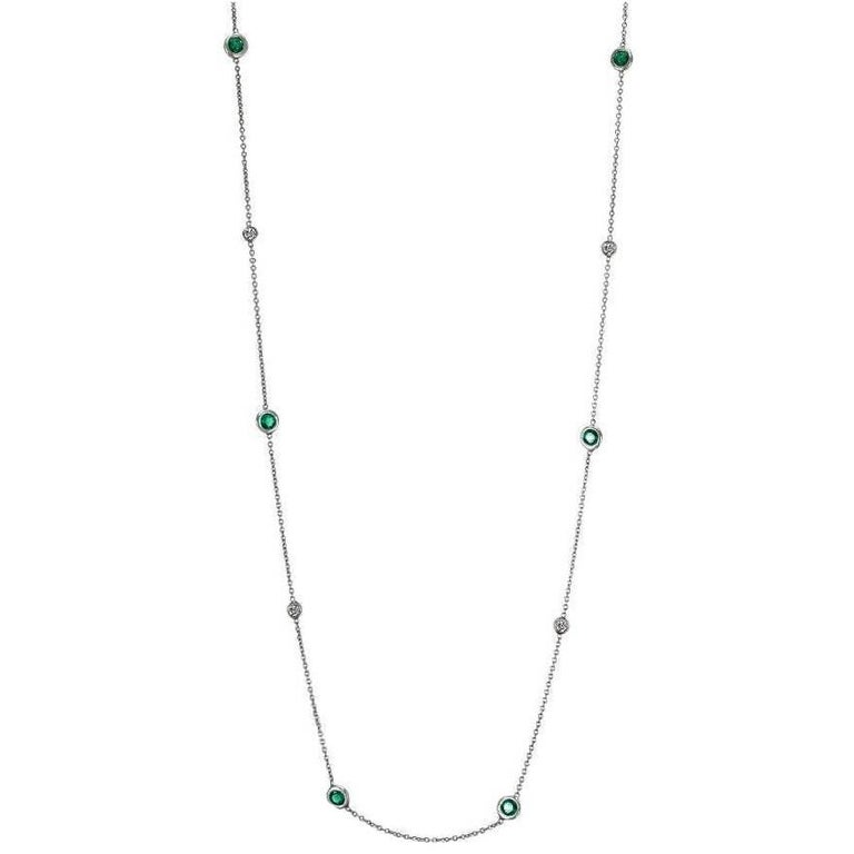 White Gold Pendant Necklace with Ten Bezel-Set Emerald and Diamond