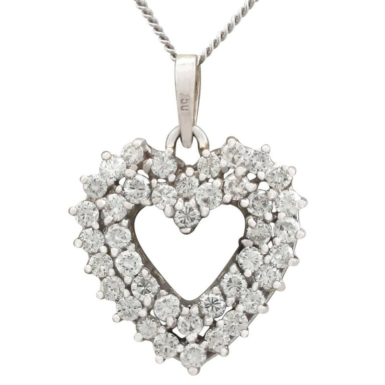 1960s 1.56 Carat Diamond and White Gold 'Heart' Pendant