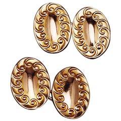 1920s Art Nouveau Double-Sided Gold Cufflinks