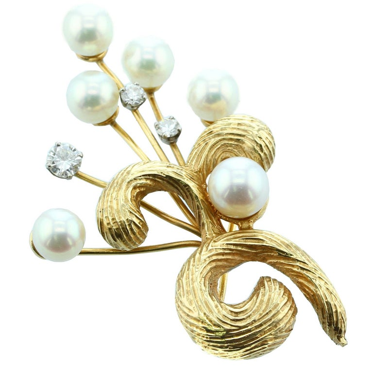 Cultured Pearl and Yellow Gold with Diamond Brooch