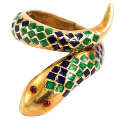 Gold and Enamel Serpent Ring