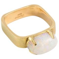 Cartier 5 Carat White Opal 18 Karat Yellow Gold Ring, circa 1960s