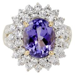 5.17 Carat Oval Purple Blue Tanzanite Diamond Gold Cocktail Ring