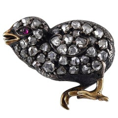 Sweetest Victorian Rose Diamond Chick Brooch 'I Have Ever Seen'
