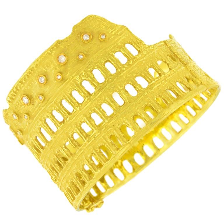 Sacchi Roman Colosseum 18 Karat Yellow Gold and Diamonds Gemstone Cuff Bracelet