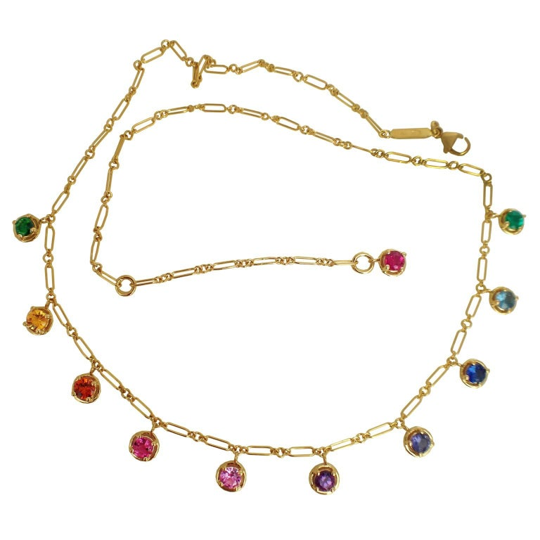 Multicolor Sapphire Gemstone Handmade Necklace Gold
