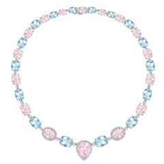 Kiki McDonough 18 carat White Gold Aquamarine and Morganite Necklace