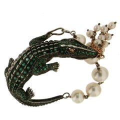 925 Silver and 14 Carat Yellow Gold Crocodile Bracelet
