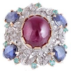 Rubies Sapphires Smeraldi Diamonds White Gold and Rose Ring
