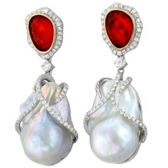 Cultured Baroque Pearl Fire Opal Diamond and White Gold Earrings