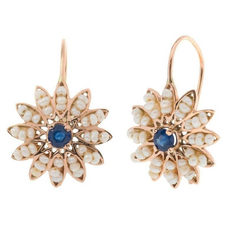 Handcrafted Italian Sapphire and Seed Pearl Flower Cluster Drop Earrings