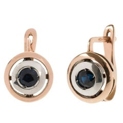 Art Deco Style Handcrafted Italian Rose Gold Sapphire Drop Earrings