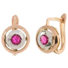 Art Deco Style Handcrafted Italian Rose Gold Ruby Drop Earrings