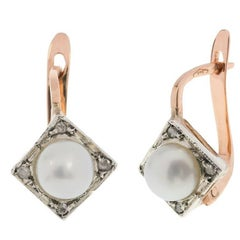 Art Deco Style Handcrafted Italian Cultured Pearl and Diamond Cluster Earrings